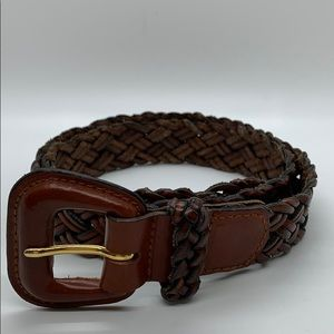 Talbots s brown leather braided belt